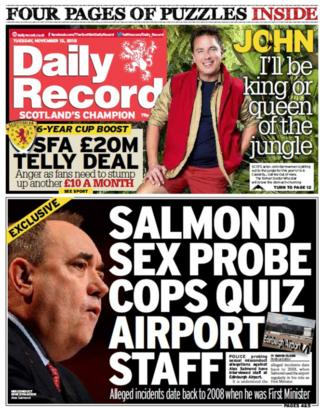Scotland's papers: Salmond 'faces third misconduct claim'