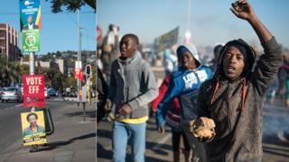 L: South African political parties municipal elections posters hang from a pole on 28 July 2016 in Pretoria R: People protesting about the poor delivery of local services on 22 July 2016