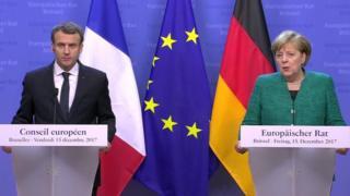 Emmanuel Macron and Angela Merkel