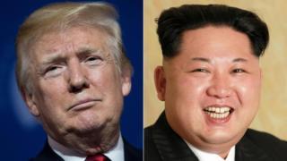الزعيم الكوري الشمالي والرئيس الأمريكي صورة مركبة