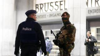 Belgium police officers in front of the central station in downtown Brussels (file pic Nov 2015)