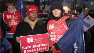 Nurses on a picket line at Belfast City Hospital