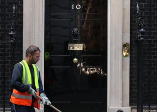 Road sweeper in Downing Street