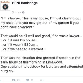 Police in Banbridge posted what had happened on their Twitter feed