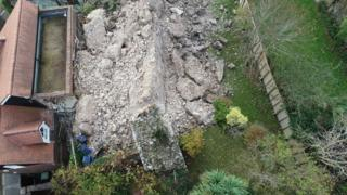 Lewes Castle: Medieval 600-tonne wall collapses on house