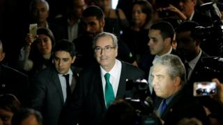 Eduardo Cunha arrives in Congress in Brasilia to announce his resignation