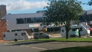 The arrival of the caravans led to the temporary closure of the leisure centre
