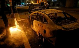 Torched cars in Washington DC. Photo: 31 May 2020