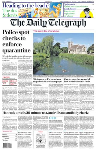 The Daily Telegraph front page 22/05/20