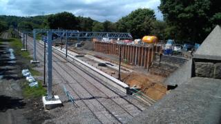 Work on the Leeds bound platform at the new Apperley Bridge station