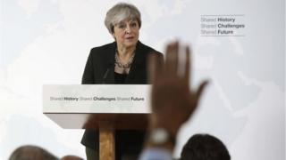 Theresa May answers questions after her speech in Florence, Italy