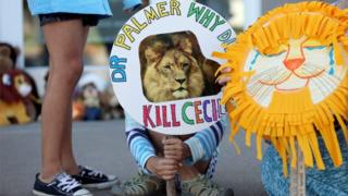 Piper Hoppe, 10, from Minnetonka, Minnesota, holds a sign at the doorway of River Bluff Dental clinic to protest against the killing of a famous lion in Zimbabwe, in Bloomington, Minnesota, July 29, 2015.