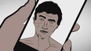 Hombre en selfie, dibujo