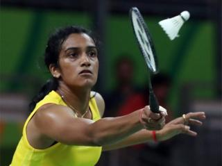 """ndhu Pusarla V. of India in action against Nozomi Okuhara of Japan during their Rio 2016 Olympic Games Women""""s Single Semifinal match at the Riocentro in Rio de Janeiro, Brazil, 18 August 2016"""