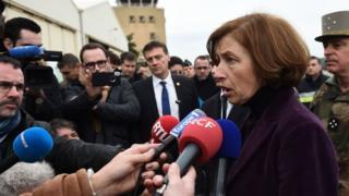 Florence Parly, la ministre française de la défence, s'adressant à la presse après les crashs.