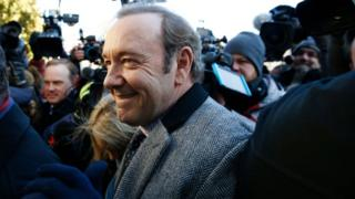The courthouse was packed as Spacey arrived from his private plane