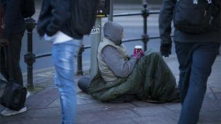 Rough sleeper in Manchester city centre