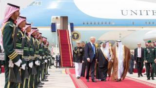Donald Trump disembarks Air force one in Saudi Arabia