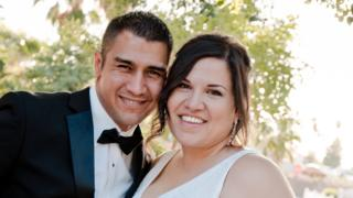 Adam and Raquel Gonzales on their wedding day