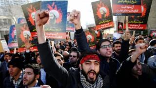 مظاهرات ضد اعدام الشيخ البارز نمر النمر