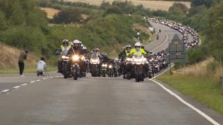 Triumph motorcycle parade