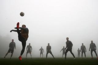 Monaco players take part in a training session ahead of the UEFA Champions League Group E match against Tottenham Hotspur FC at La Turbie training ground