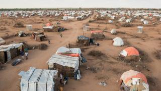 An overhead photo of the Qansaxley IDP settlement in Dollow, Somalia, located near the border to Ethiopia. Many families have fled here from the drought.