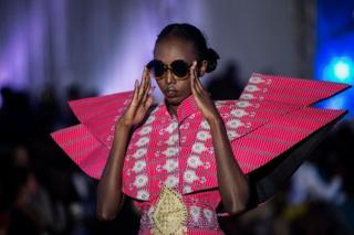 A models seen on the catwalk during Dakar Fashion Week in the Senegalese capital.