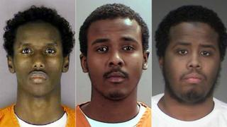 Guled Omar, left, Abdirahman Daud and Mohamed Farah