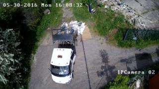 A lorry fly-tipping