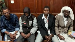 The four suspects awaiting their verdict in court on 19 June. Sahal Diriye Hussein, on the far right, was acquitted.