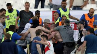 Supporters clash at an England-Russia game