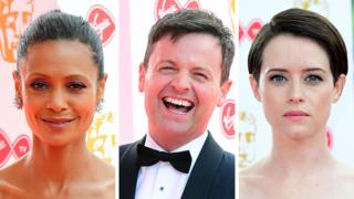 Left-right: Thandie Newton, Declan Donnelly and Claire Foy