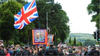 The annual march passes a stretch of the Crumlin Road in north Belfast that separates unionist and nationalist communities