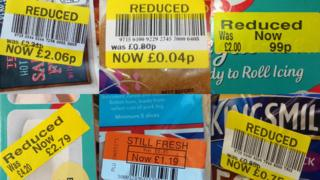 Reduced price stickers on food