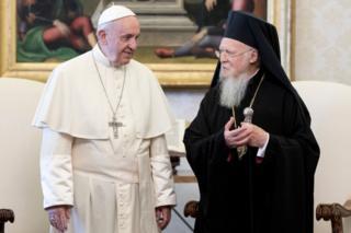встреча Вселенского патриарха Варфоломея и папы римского Франциска в Ватикане