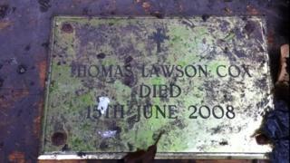 The ashes casket found in Bill Stephenson's garden