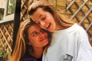 Jo (left) and Jen (right, in white) pictured in 1989/90, not long before Jo became ill