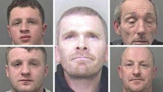Composite mug shots of convicted badger baiting gang