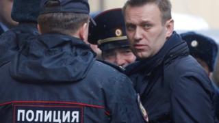 Alexei Navalny at court on Monday