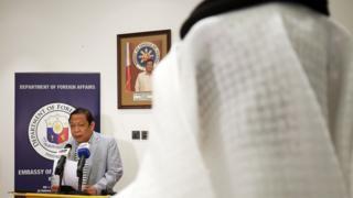Philippine ambassador Renato Pedro Villa speaks to reporters in Kuwait City (21 April 2018)