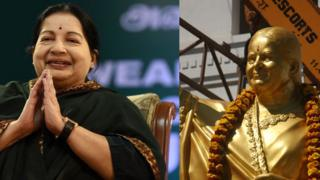 A comparison of Jayalalitha and the statue that was commissioned of her