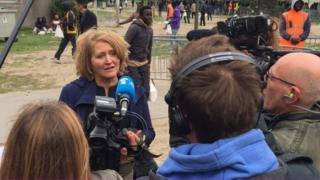 Children's Commissioner for England, Anne Longfield, being interviewed at Calais camp