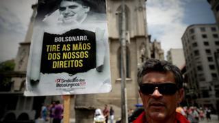 Protesto do Sindicato dos Metalúrgicos em São Paulo no dia da entrega da proposta de reforma da Previdência