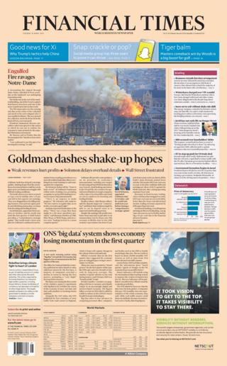 FT front page on 16 April 2019
