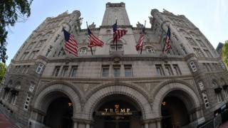 Front of Trump's hotel