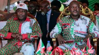Burundis incumbent president Pierre Nkurunziza (R) and Evariste Ndayishimiye, presidential candidate of the ruling party CNDD-FDD