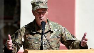 US Army General Scott Miller speaks during a change of command ceremony in Resolute Support headquarters in Kabul, Afghanistan September 2, 2018