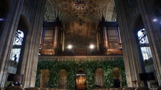 Flowers adorn the front of the organ loft inside St George's Chapel at Windsor Castle