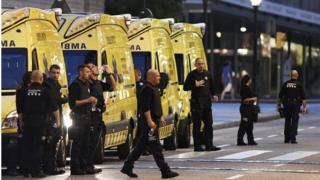 Paramedics are seen near to the scene of a terrorist attack in the Las Ramblas area on 17 August 2017 in Barcelona, Spain.